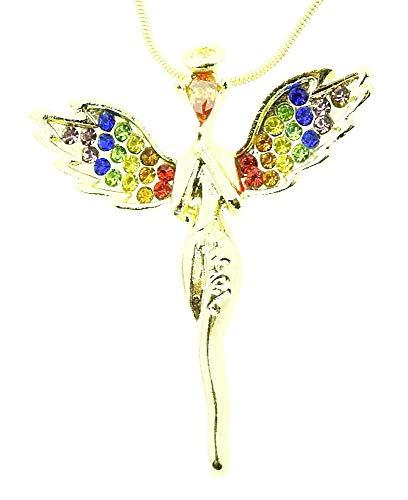 Vrouwelijke ketting - vrouw - gevleugeld - beschermengel - geluksbrenger - vleugels - glitter - bescherming - juweel - origineel cadeau-idee