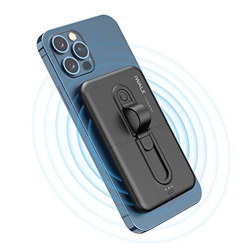 iWALK Wireless Powerbank 5000mAh, Mini Tragbares Ladegerät durch Kleben am Telefon, Kompatibel mit iPhone 12/12 Mini/12 Pro/SE 2020/11/11 Pro/XS/XR und Samsung Galaxy Note20 Ultra/S20/S10/S9 und mehr