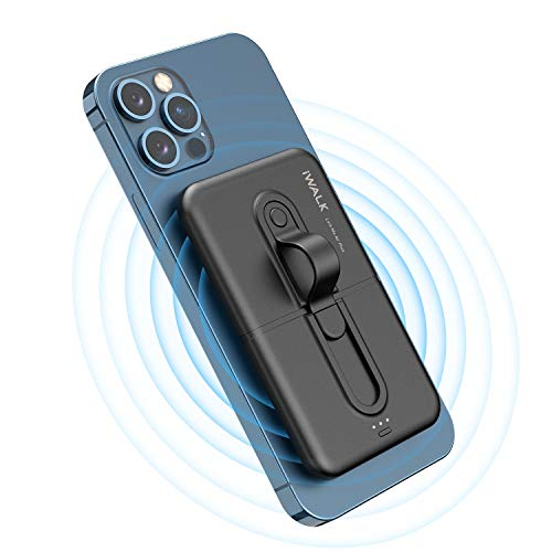 iWALK Wireless Power Bank 5000mAh, Mini Portable Charger by Sticking to Phone, Compatible with iPhone 12/12 Mini/Pro Max/11/11 Pro/SE 2/X/XS/XS MAX/8 and Samsung S20/S9/S9+/S10/Note 20