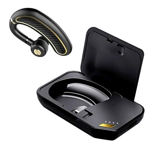 teng hong hui K21 Business Bluetooth Auricular sudorable inalámbrico v4.1 Auricular de Negocios Auriculares Bluetooth con audífonos de micrófono de reducción de Ruido, Negro, Caja de Carga