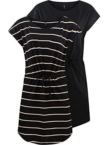 ONLY Damen Sommer Mini Kleid onlMAY S/S Dress 2er Pack Grösse XS S M L XL XXL Gestreift Schwarz 100% Baumwolle, Größe:XXL, Farbe:Black Double Camel