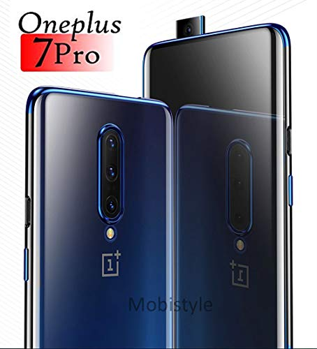 MOBISTYLE - oneplus 7 pro Mobile Cover Luxury Electroplating Soft Silicon Transparent TPU Back Case Cover for oneplus 7 pro (Electric Blue)