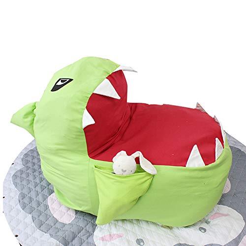 Youngshion Bean Bag Sitzsack in 3D-Tierform, gefüllt, Hai-Mundsstuhl, für Kinder, Plüsch, Spielzeug, Kleidung, Quilts, Organizer, Schlafsofa grün
