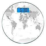 Escala digital de peso corporal de precisión Ronda Gris Báscula de baño de...