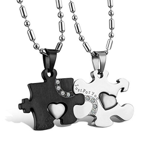 Cupimatch 2-teilig Herren Damen Edelstahl Just for You Strass Puzzle passender Anhänger Paar Halskette mit 50cm 55cm Kette, schwarz Silber
