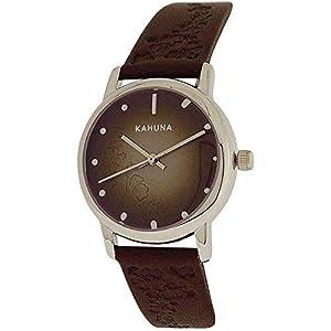 Kahuna Ladies Analogue Dial Genuine Leather Brown Flowery Strap KLS-0303L