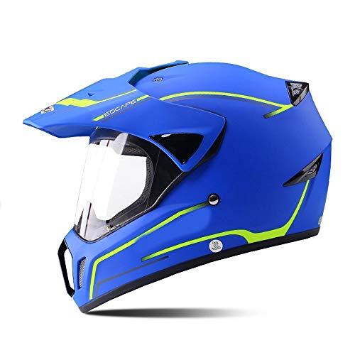 Bradoner Motorradhelm Offroad Helm Atmungsaktiv Motorradhelm Vollgarage Helm Bruchfest Lokomotive Universal - Blau - Groß (Größe : M)