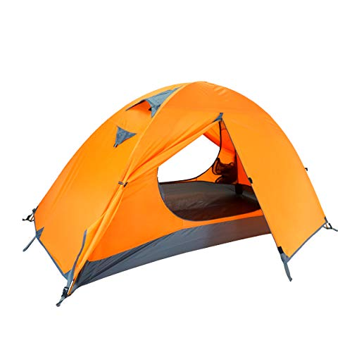 Azarxis 1 2 Man Person 3 Season Tent for Camping Backpacking Hiking Easy Set Up Waterproof Lightweight Professional Double Layer Aluminum Rod (Orange - 1 People)
