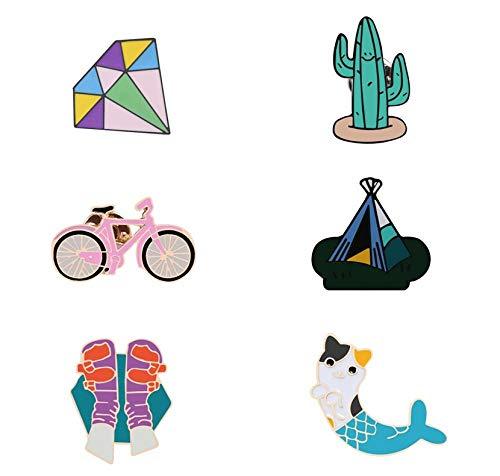 Broschen Anstecknadeln Für Damen,(6 Pc) Cartoon Kreativen Spaß Cactus Fahrrad Zelt Klettern Mermaid Cat Persönlichkeit Corsage Kragen Pin/Für Frauen Mode Anti-Light Unisex Bekleidung Abzeichen Bro