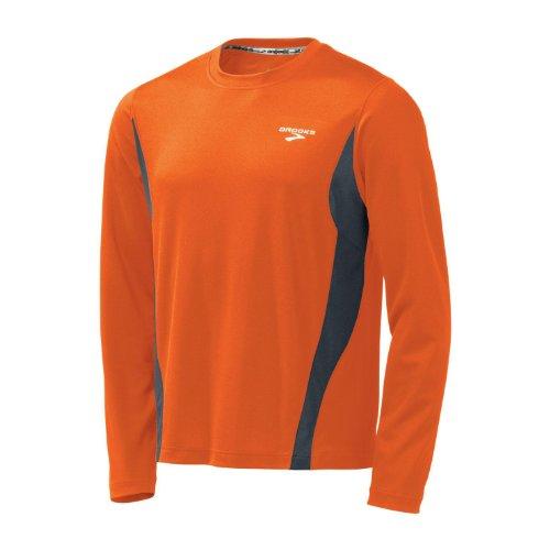 Brooks Camisa de Manga Larga versátil para Hombre, Color Naranja Brillante/Antracita, Talla S
