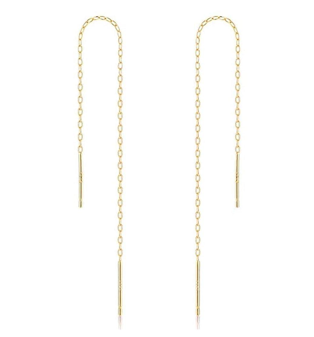 2pcs 14k Gold on Sterling Silver Cute Ear Threads Long Chain Dangle Bar Earrings   5 inch Drop Earring Threader Jewelry Findings SS339-5