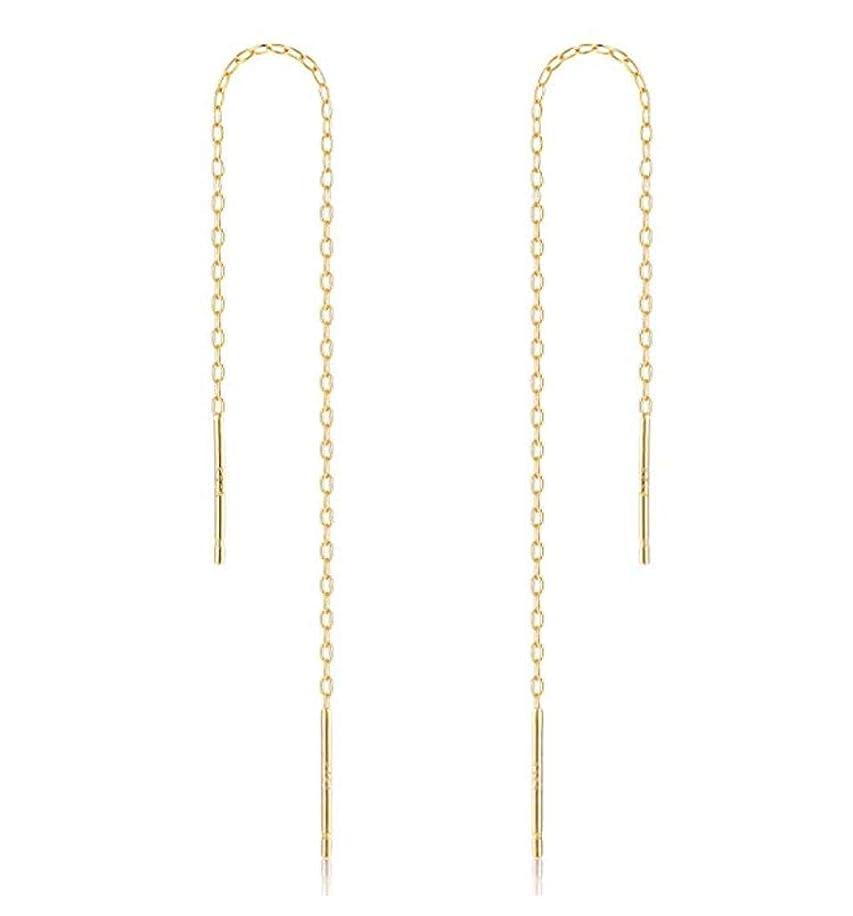 2pcs 14k Gold on Sterling Silver Cute Ear Threads Long Chain Dangle Bar Earrings | 5 inch Drop Earring Threader Jewelry Findings SS339-5
