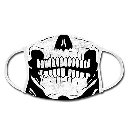 Spreadshirt Totenkopf Skelett Mund-Nasen-Bedeckung, Weiß