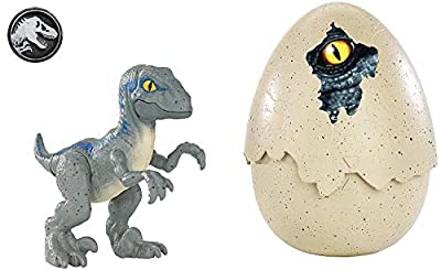 JURASSIC WORLD HATCH 'N PLAY DINOS Velociraptor Blue from Mattel