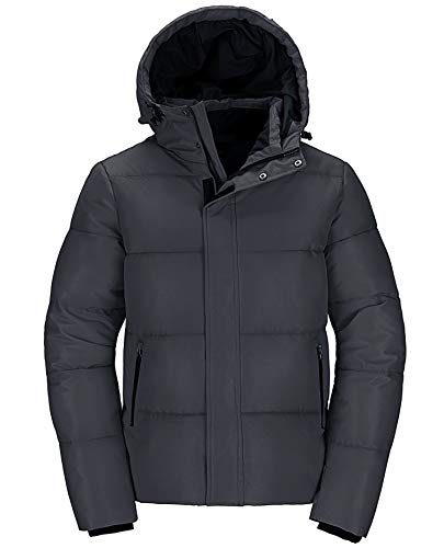 Wantdo Men's Big & Tall Winter Jacket Puffer Windproof Hooded Coat Dark Gray M