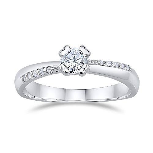 SILVEGO Damen Verlobungsring aus 925 Sterling Silber mit Swarovski® Zirconia