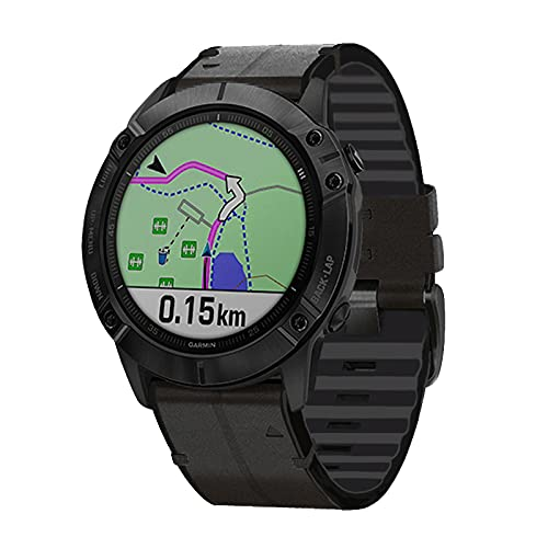 TopTen Correa de reloj deportivo de piel de ajuste rápido de 22 mm, compatible con Garmin Forerunner 935,945/Fenix 5/Fenix 5 Plus/Fenix 6/Fenix 6 Pro/Instinct Correa (negro)