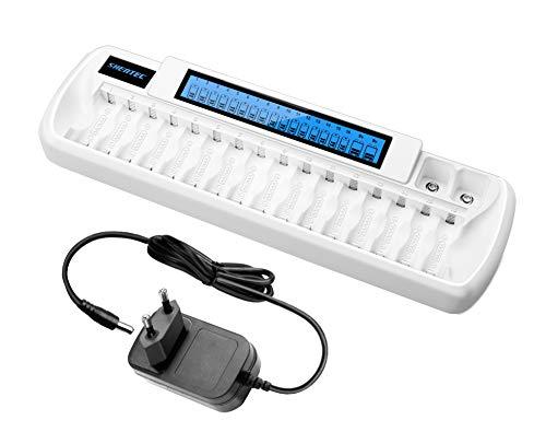 Shentec Cargador de Pilas AA AAA Ni-MH y 9V Ni-MH Li-Ion Cargador de batería Recargable,con LCD Inteligente y 18 Ranuras Recargue Mixto o Individual