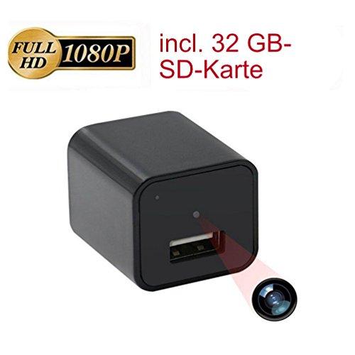 MOVINTO 1920 x1080 Full HD Mini Kamera, 32 GB, getarnt als USB Charger, mit Bewegungssensor, versteckte Mini Spion Kamera mit Aufzeichnung, schwarz