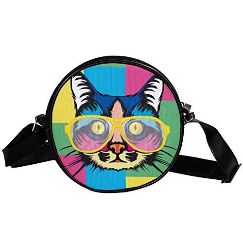 Mini Umhängetasche Mädchen Farbige Katze mit Brille Geldbörse Runde Umhängetasche Kinder Brieftasche Klein Handtasche Tasche Handy Schultertasche 17x17x5.5cm