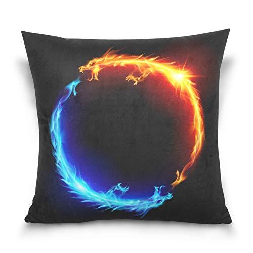 HMZXZ Funda de almohada decorativa de 45,7 x 45,7 cm, diseño de dragón azul rojo y fuego, para sofá, dormitorio, hogar, sala de estar