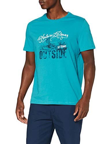 camel active Herren Halbarm T-Shirt, Blue, M