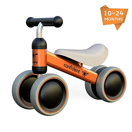 XIAPIA loopfiets voor kinderen van 10-24 maanden baby, loopfiets met 4 wielen, eerste glijfiets voor jongens/meisjes als cadeau voor 1 jaar oud (Oranje)