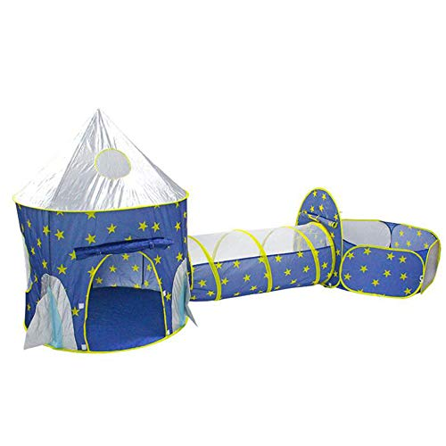 Kids Tent, Indoor 3 in 1 Tipi Wigwam Game Tunnel Space Rocket Play Palace Tent Kinderen Toy Opvouwbare Kuil van de bal met Mand, Huis Yard Beach Camping