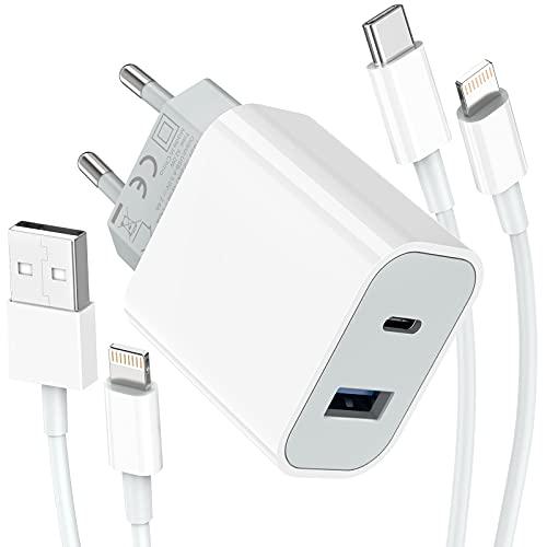 Everdigi Caricabatterie USB C da 32W Doppie porte con cavo USB C a Lightning e Cavo usb a Lightning di ricarica per iPhone 13 iPhone 12/11/Pro Max/XS/XR/X/8/7/6/Galaxy