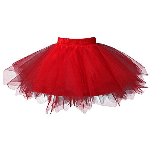 FEOYA Niñas Falda de Tul Tutú Clásica de Ballet para Disfraz Halloween Fiesta, Color Rojo