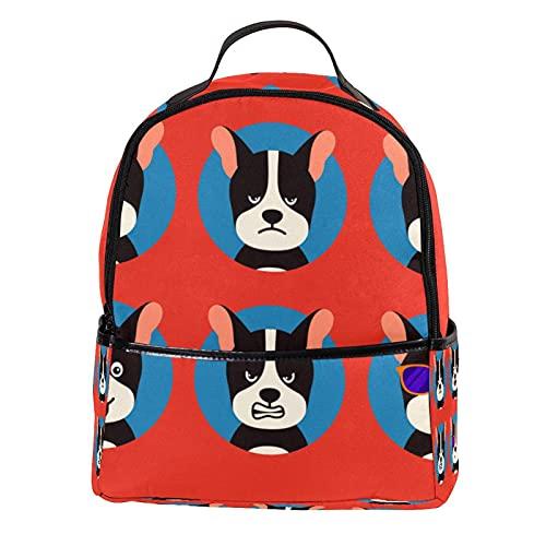 ATOMO Mini mochila casual divertido lindo perro cachorro expresiones pu cuero viaje compras bolsas Daypacks