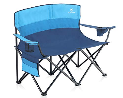 Camping Double Seat Folding Camping Chair with Cup Holder Heavy Duty Loveseat for Adults Support 450lbs Ideal for Camping BBQ Beach Travel Picnic Festival