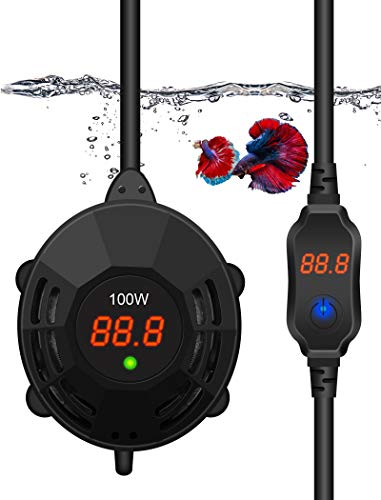 100W Aquarium Heater for Fish Tank Mini Fish Heater Small Submersible Tank Heater with Built-in Thermometer Double Displays & Remote Controller for 5-20 Gallon Tank