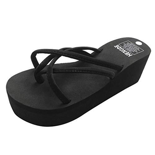 Sencillo Vida Chanclas Cuña Mujer 2019 Flip Flops de Plataforma Sandalias de Punta Descubierta para Mujer Chancletas Zapatos de Playa Bohemias Zapatillas Antideslizante Aire Libre