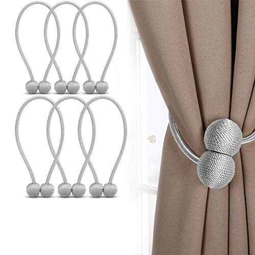Awemoz Vorhang Embrasse - 6 Vorhang Raffhalter - Magnetisch - 40 cm - Beige… (Grau, 6 Stück)