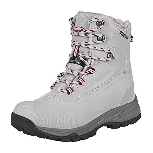 GRITION Women's Trekking & Hiking Boots Waterproof Winter High Walking Shoes Ankle Snow Lace Up Ladies Safety Warm Insulated Work Comfy Non Slip Weather Fashion Booties Outdoor (3.5 UK / 36 EU, Grey)