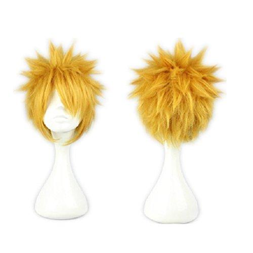 COSPLAZA Cosplay Wigs Kostüme Perücke 30cm kurz Gold Gelb Blond Maennlich Anime Show Fasching Karneval Haar
