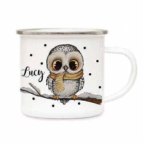 ilka parey wandtattoo-welt Emaillebecher Becher Tasse Camping Schneeeule Eule auf AST & Wunschname Name Kaffeetasse Winter Geschenk eb570