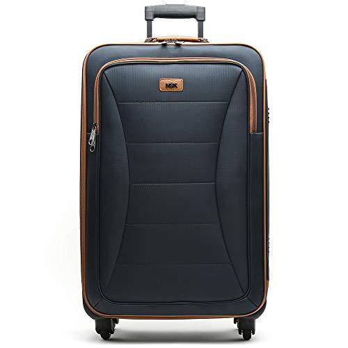 MISAKO Maleta Grande de Viaje Leslie Unisex Azul | Maleta Elegante de Nylon Blanda | 77x46x26cm | Maleta Grande para Viajes | 4 Ruedas | Semirígida