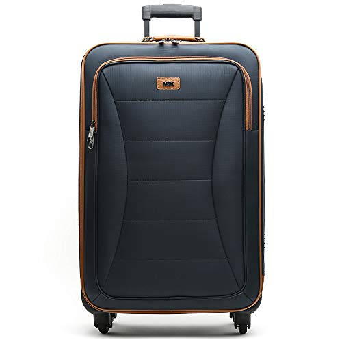 Misako – Maleta de Viaje LELSIE Mediana 69 X 35 X 23CM - 53L - 3,0KG en Color Azul Marino | 4 Ruedas Giratorias | Maleta Blanca de Gran Tamaño