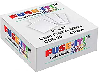 ON SALE, 6 inch Square Clear Fusible Glass COE 90-4 Pack