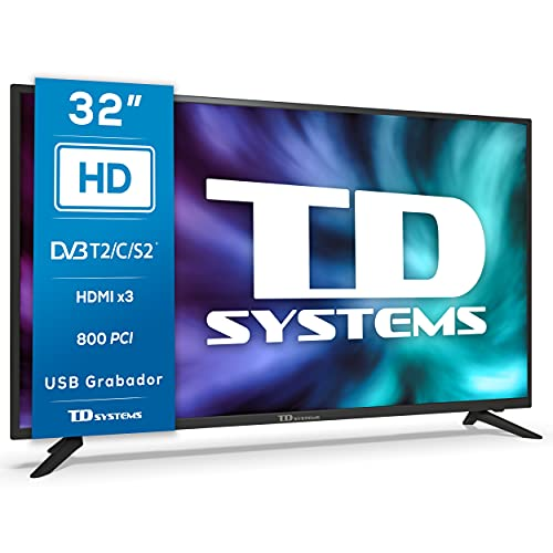 TD Systems K32DLG12H - Televisores 32 Pulgadas HD, 800 PCI Hz, 3X HDMI, USB Grabador Reproductor, DVB-T2/C/S2 Modo Hotel....