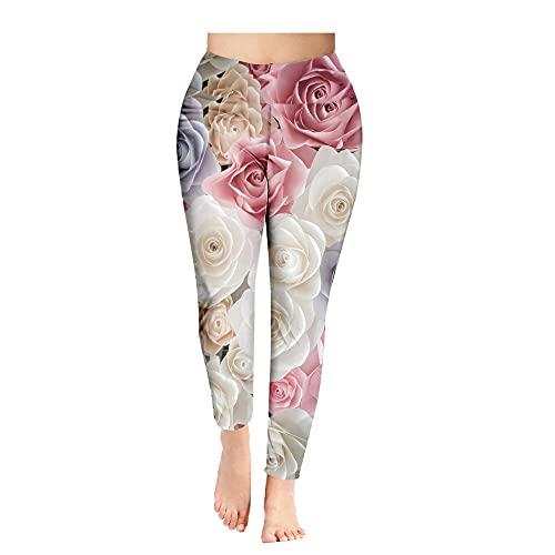 ArcherWlh Leggings Mujer,Pantalones de Yoga Impresión de Flores Nueve Pantalones Damas Leggings Secado rápido Fitness Deportes Pantalones de Yoga-1 Estilo_3XL