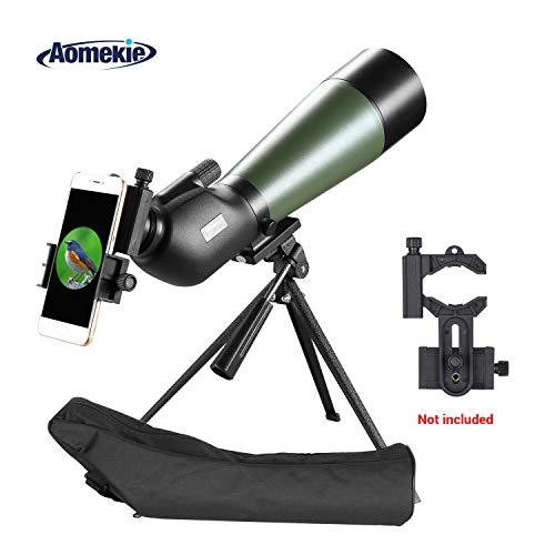 Aomekie Telescopio Terrestre 20-60x80 Impermeable Telescopios Terrestres con Trípode y Bolso BAK4 Prisma