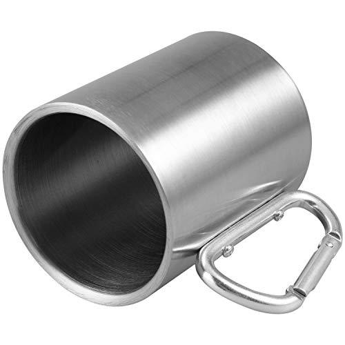 Yaootely Taza de Acero Inoxidable de 330 ml con mosqueton Plegable Auto-Bloqueo Plegable de la manija de la manija de la Taza para Acampar al Aire Libre Senderismo