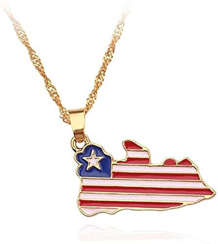 TYWZH Collar con Colgante de Bandera Nacional, Collar para Mujer, Jamaica, Nigeria, Ghana, Jamaica, Guyana, mapas, Collares, joyería del Condado