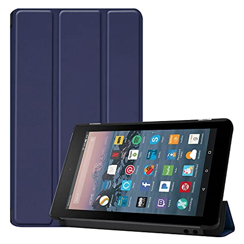 ZHANGHUI Funda protectora para tablet Fire de 7 pulgadas 2019/2017, funda ligera de tres pliegues, con soporte para PC, con triple pliegue y apagado automático, color azul