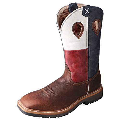 Twisted X Men's Steel Toe Lite Western Work Boot, Brown/Texas Flag, 10(B)