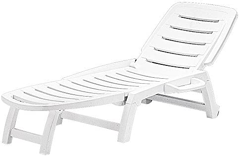 Best Folding Three Position Reclining Patio Lounge Chair or Sun Lounger - White - S6805B