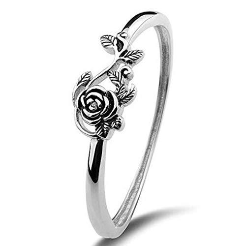 IWINO 925 Sterling Silber Ring für Frauen Hochzeitstag Fine Jewelry Retro Silber Rose Ring Alter Silber Verlobungsring 10